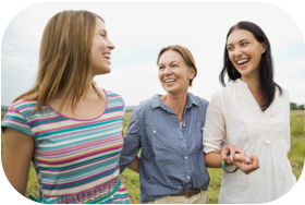 3 women outside enjoying time together