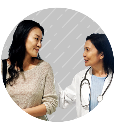 Patient discussing treatment options with her doctor